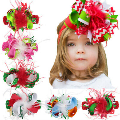 Christmas Kids Bows Colorful Hair Clip Hairband Dual-use Baby Hair Accessories