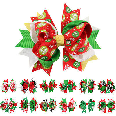 Baby Kids Girls Christmas Bowknot Hairpin Hairclip Headdress Hair Accessories