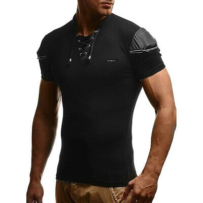 Men's Summer Short Sleeve Stand Collar Slim Fit Shirts Assorted Colors T-Shirt