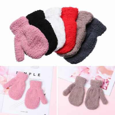Warm Lovely Boys Girls Full Fingers Coral Plush Mittens Candy Color Kids Gloves