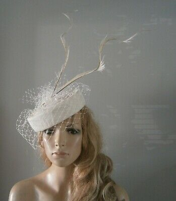 Ivory pillbox hat fascinator hats beret feather wedding ascot fascinators bride