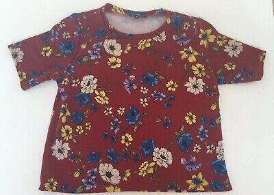 Great Ladies Girls NEW LOOK Red Floral Short Sleeved Top. Size 8 Petite VGC