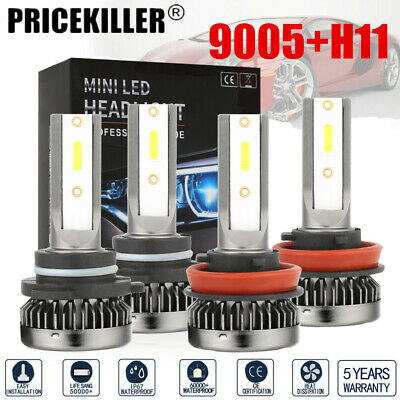 MINI 9005 H11 Combo COB LED Headlight Fog Lamp Bulbs 6000K White High Low Beam ~