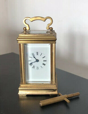 Antique Miniature Brass Carriage Clock & Key - Acg - 1900