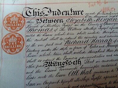 Antique Indenture Document 1893 One Shilling Embossed Stamp Small parchment