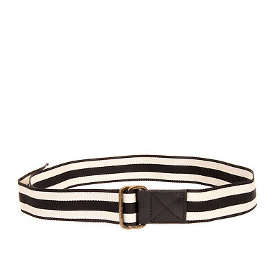 TOMAS MAIER Belt One Size Leather Trim Striped Pattern Double Loop Buckle