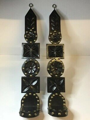 Tudor Revival Hand Carved Wood Gothic Candle Wall Sconces, Brass Studs