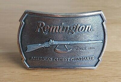 """Brass """"Remington"""" belt buckle to fit 1.75 inch wide Leather belt circa 1970s VGC"""
