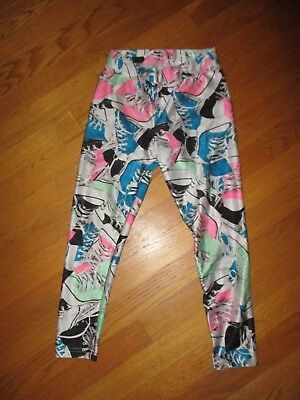 Girls Justice Blue Pink Green High Top Sneakers Cropped Leggings Size 8