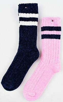 TOMMY HILFIGER 2-pack Girls' Chenille Socks, Navy Blue/Pink, size 7-10 years