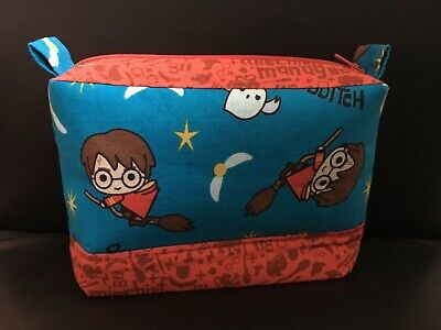 Harry Potter Quidditch Fabric Zippered Pencil Case Make up Jewellery Bags NEW
