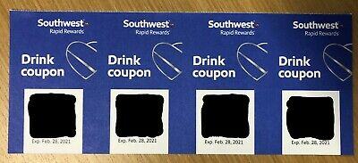 (x4) Southwest Airlines Drink Worth $20 Exp 2/28/2021