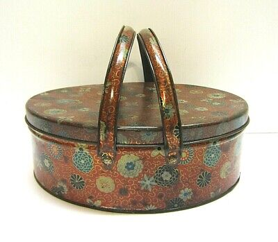 Vtg Sewing Container Red Orange Blue Floral Old  Antique Tin Litho Basket