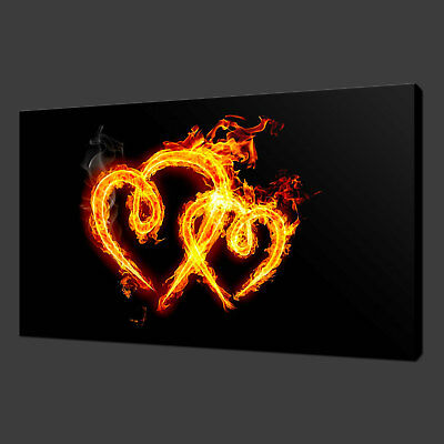 Hearts On Flame Canvas Print Picture Wall Art Free Fast Postage Variety Of Sizes