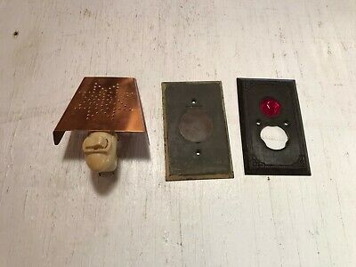 Vintage Lot Electrical Parts Copper Night Light Brass and Jeweled Cover Plate