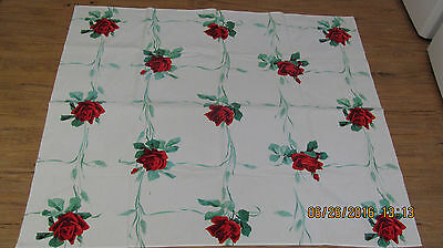 "Vintage 1950's Cotton Tablecloth 46"" X 40"" Red Rose Print"