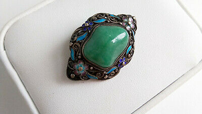 Art Deco Antique Chinese Export Jade Enamel Silver Filigree Brooch Statement