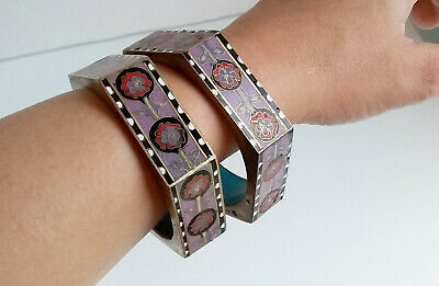 Chinese Art Deco Cloisonné Enamel 6 Sided Hexagonal Bangles 1920-1930
