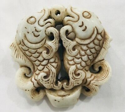 Antique Chinese Hand-carved fish Carving Hetian white jade Pendant amulet