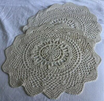 "Set of Two 15"" Hand-Crocheted Antique-White Cotton Doilies w/ Scalloped Edges"