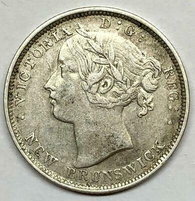1862 New Brunswick 20 Cents Silver Coin Repunched Large 8 * Better Grade *