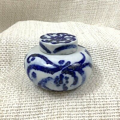 Small Antique Chinese Porcelain Ginger Jar Hand Painted Blue and White China