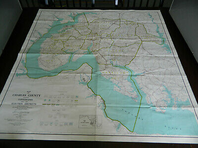Vintage 1950 Charles County Maryland Map Topo & Districts