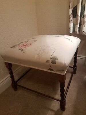 Large Antique Oak Footstool with overstuffed upholstered cushioned top