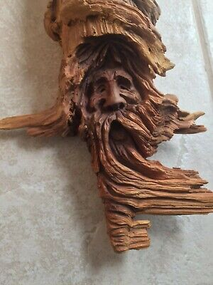 Drift Wood Hand Carved Wizard old man Hobbit Spirit Sculpture Whittle