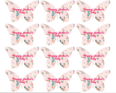 Cupcake Toppers Mothers Day Hearts Pre-cut Wafer Paper cake Decoration 40mm x12