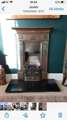 Cast Iron Art Deco Fire Surround Complete With Multiglow Fuel Effect Gas Fire.