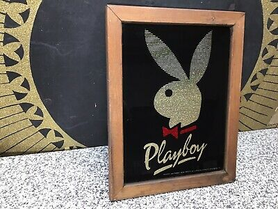 Vintage Playboy Bunny Glass Sparkle Mirror Sign