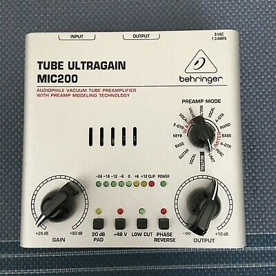 Behringer Tube Ultragain Mic200 with power supply Guitar, Bass, Mic preamp