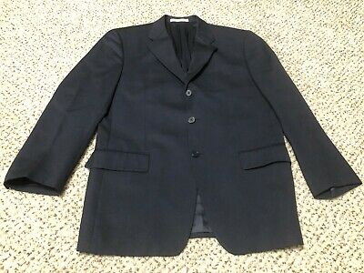 MADE IN USA Joseph Abboud 100% Wool 3-Button Blazer Sport Coat Navy Blue 40R