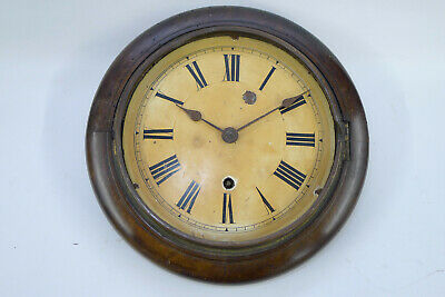 Antique small W&H Walnut 8 inch 8day WALL DIAL CLOCK for restoration/parts