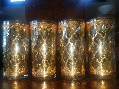 SIGNED MINT 4PC Culver Valencia Tumbler Glasses 22K Gold MCM MID CENTURY Barware