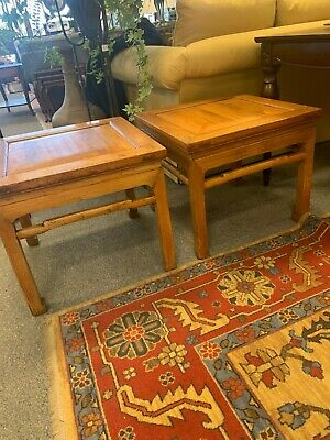Pair of Chinese Square End Tables in Natural Wax Finish