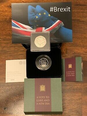 🇬🇧SOLD OUT Silver Proof Brexit 50p Coin Set+1973 EEC Brenter Ring Of Hands 50p