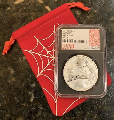 2017 1 Oz. Tuvalu Spider-Man Silver Coin NCG FR MS70 Black Label W/Web Bag