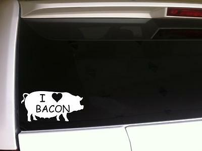 I Love Bacon Bumper Sticker Decal Pork Meat Heart Funny Humor Eat Pig Food b4