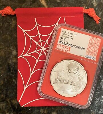 2017 1 Oz. Tuvalu Spider-Man Silver Coin NCG FR MS70 Red Label W/Web Bag