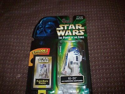 Star Wars R2-D2 With Launching Lightsaber Power of the Force Flash Back Photo