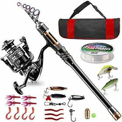 Fishing Rod Reel Combo Carbon Fiber Telescopic Fishing Pole Spinning Reels M6C3