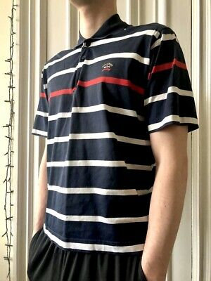 W@W! Paul & Shark Mens M Navy Blue & White / Red Stripe Polo Shirt Collar Italy