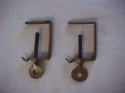 UNUSUAL Pair of Victorian Era QUALITY Cast Brass Clamps Sewing Quilting ?