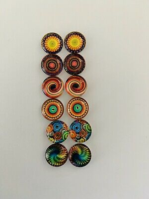 6 Pairs Of 10mm Glass Cabochons #994