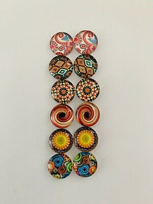 6 Pairs Of 10mm Glass Cabochons #735