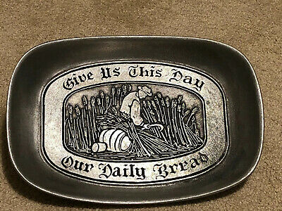 Vintage Wilton Armetale Pewter Tray Give Us This Day Our Daily Bread