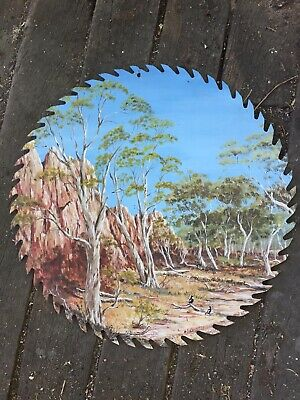 Australian Outback Painted Scene on Saw Large Circular Blade Signed AP Kennedy