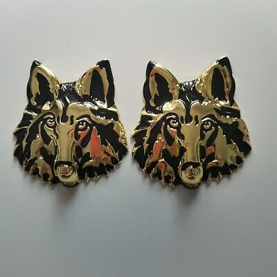 1PC Left Wolf Head Golden Metal Badge Sticker Emblem 3D Logo Racing Sport Drive